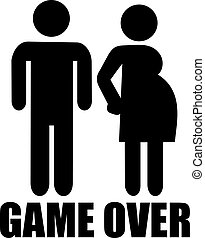 Couple with pregnant woman and Game over