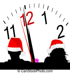 couple with red hat and a clock in the background
