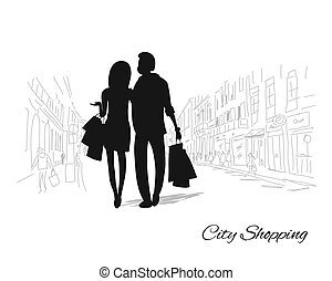Couple with shopping bags in the city