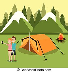 couple with smartphones in the camping zone
