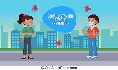 couple with social distancing covid19 prevention message on ...
