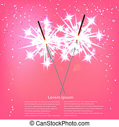 Couple with sparklers on a pink background. Vector illustration.