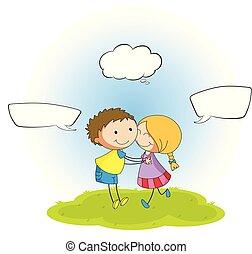 Couple with speech balloon illustration