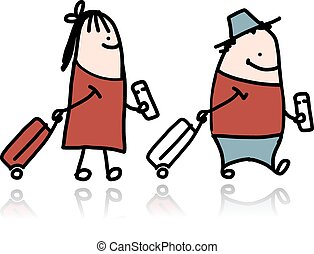 Couple with suitcases and tickets, cartoon. Vector...