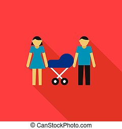 Couple with they newborn child in blue pram icon
