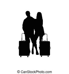 couple with travel bag illustration