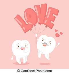 couple tooth with valentine day on the pink background