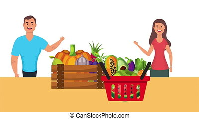 couple with vegan food healthy life style ,4k video animated