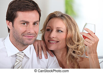 Couple with wine glass