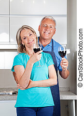 Couple with Wine Glasses
