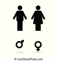 couple with woman and man sign illustration