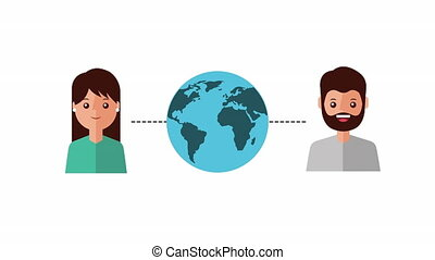 couple with world planet earth