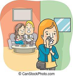 Couple Woman Cheating