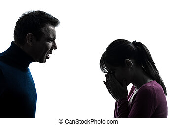 couple woman man dispute  silhouette