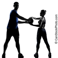 couple woman man exercising workout