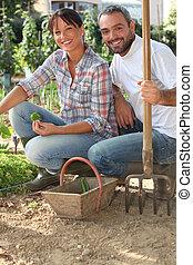couple working in a kitchen garden