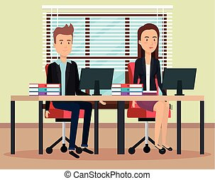 couple working in the office