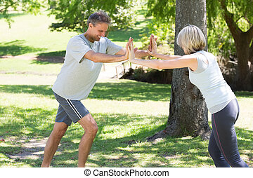 Couple working out in the park