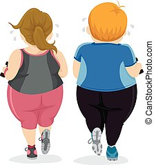 Couple Workout - Illustration of a Couple Doing their...