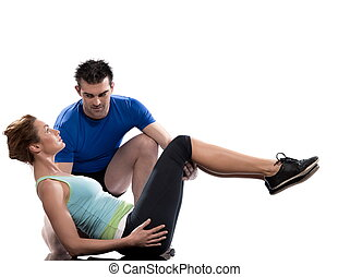 couple workout posture - couple, man and woman on Abdominals...