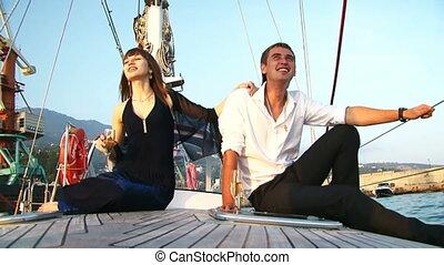 couple, yacht, délassant