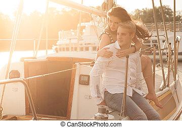 couple, yacht, sunset