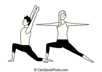 couple yoga poses black and white
