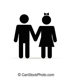 couple young and happy in black color illustration