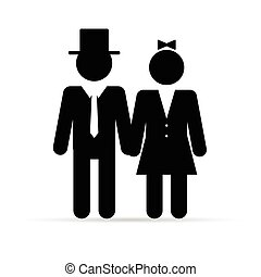 couple young in black color illustration