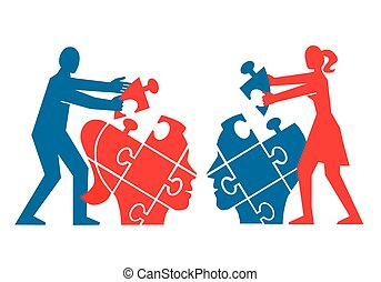 Couple,Mutual understanding and dialog, puzzle concept. - ...