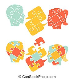 Couple,psychology of understanding and dialog, puzzle ...