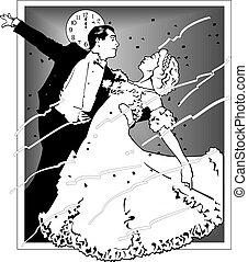 coupler danse, illustration, vecteur, 10, eps, salle bal, dance.