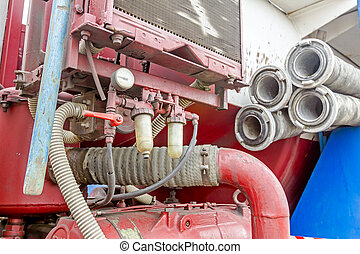 Coupler on corrugated suction hose - View on truck...