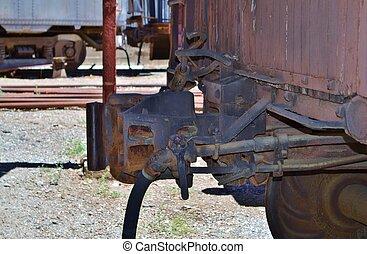 Train coupler on car