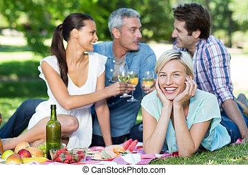 couples, парк, счастливый