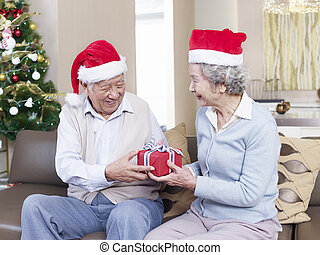 couples aînés, échanger, noël dons