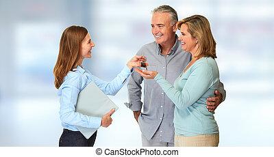 couples aînés, agent, propriété