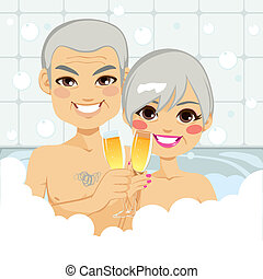 couples aînés, bain moussant