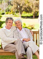 couples aînés, banc