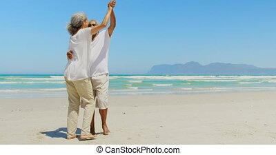 couples aînés, danse, côté, actif, africaine, vue, américain, plage, romantique, ensemble, 4k