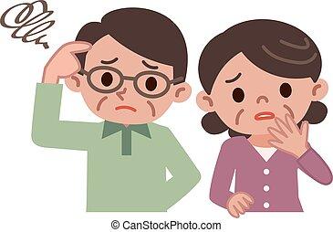 couples aînés, de, préoccupé, regard