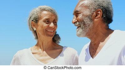 couples aînés, debout, actif, africaine, soleil, vue,...