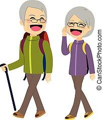 couples aînés, escalade