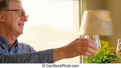 couples aînés, maison, grillage, lunettes, jus, 4k