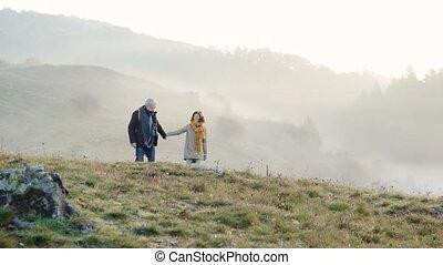 couples aînés, sur, a, entrez, une, automne, nature.