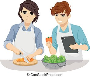 couples adolescence, cuisine, gay, illustration