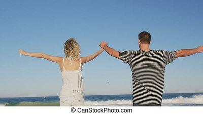 couples adulte, mer, délassant, 4k, jeune
