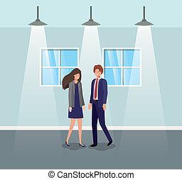 couples affaires, couloir, bureau