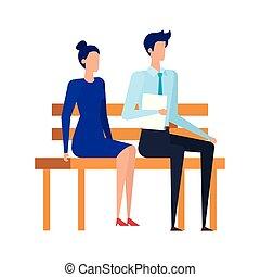 couples affaires, parc, assis, élégant, chaise