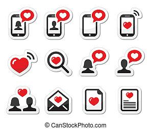 couples, amour, jour valentine, icônes